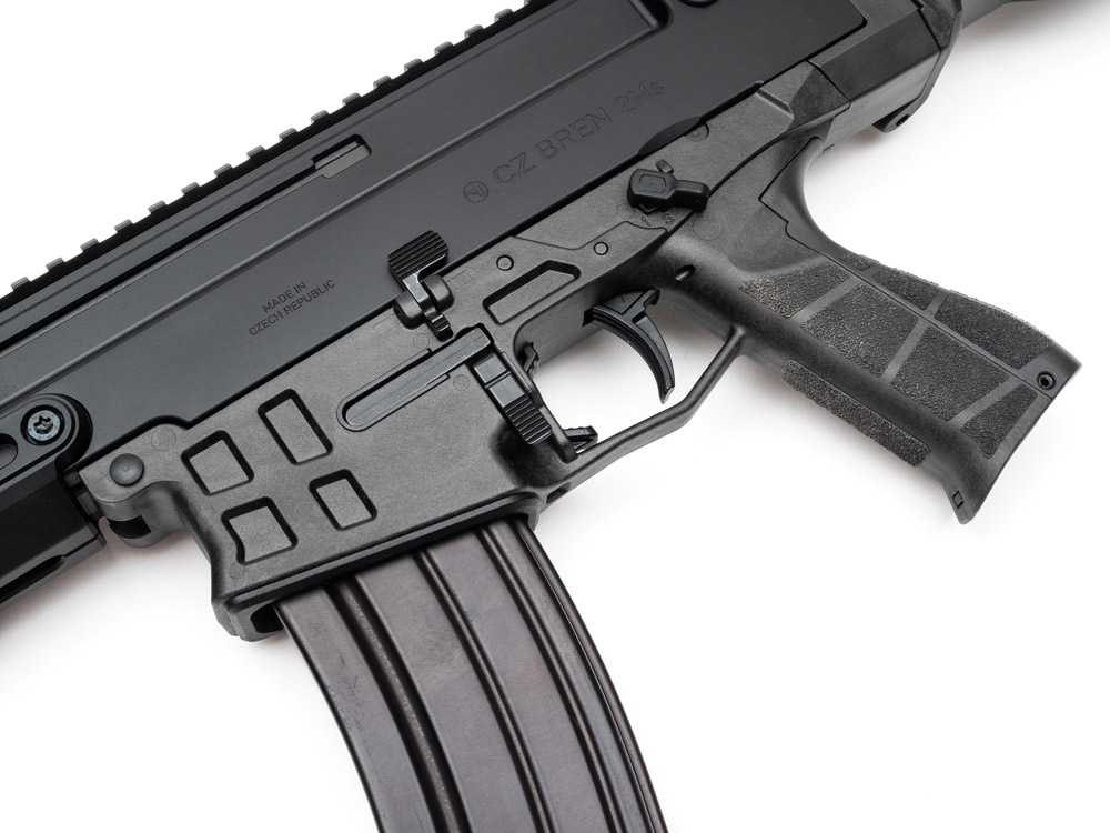 The Bren 2 Ms has similar controls to an AR-15 and accepts the same magazines in the 5.56 configuration.