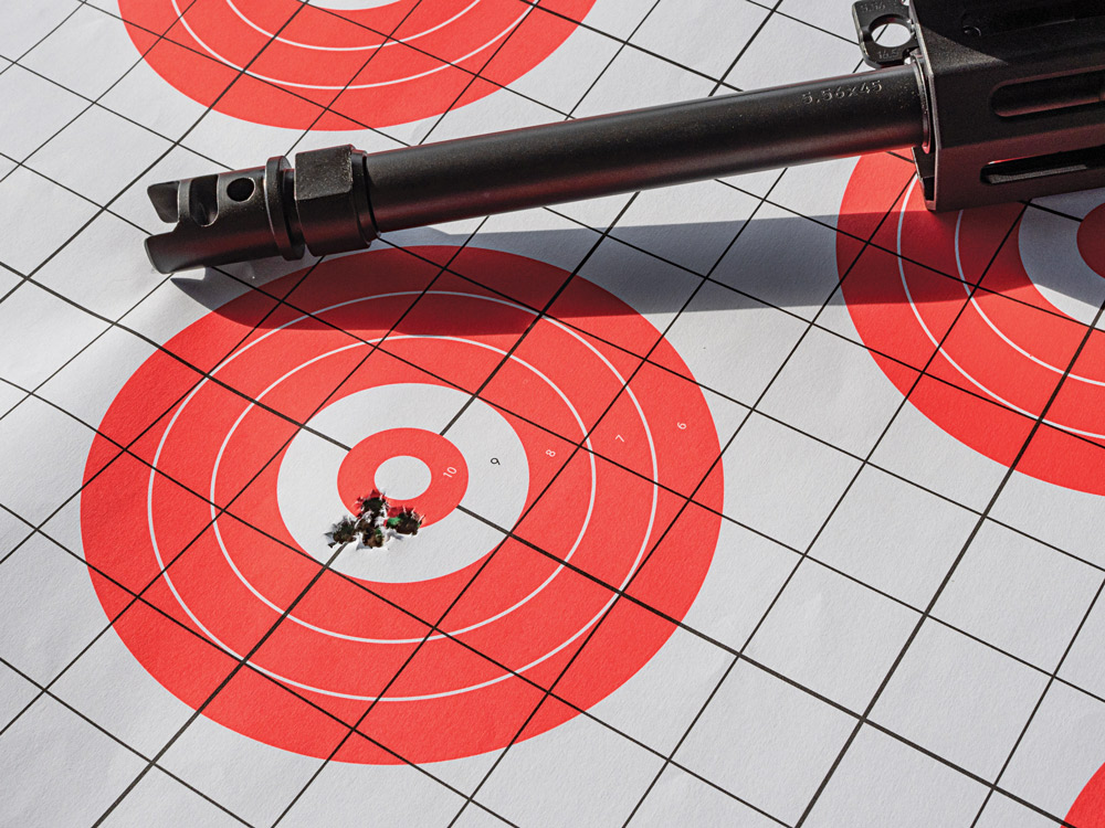 Even with Winchester's 62-grain Open Tip rounds, the Bren 2 Ms turned in sub-MOA groups at 100 yards.