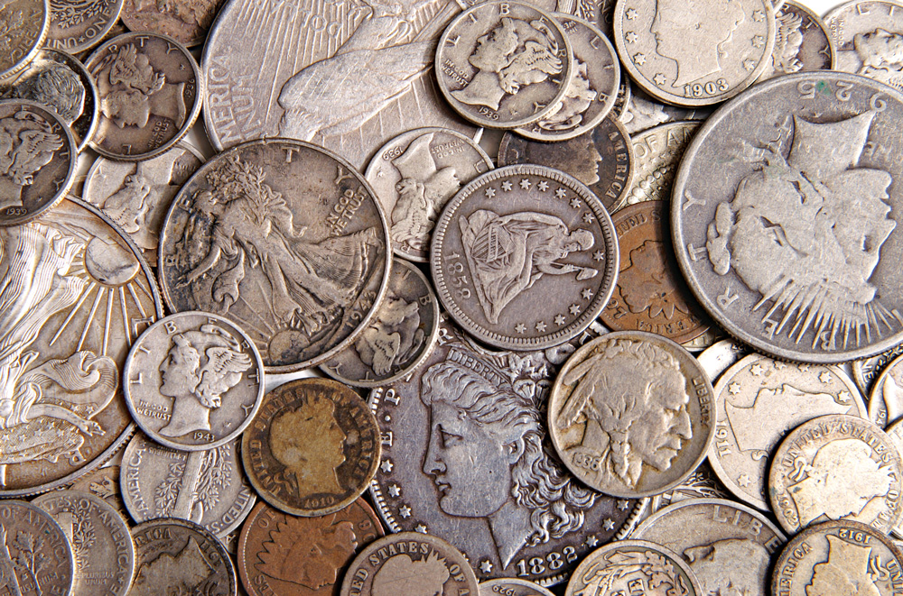 """Always check loose change for so-called """"junk silver"""": U.S. half dollars, quarters and dimes minted in 1964 or earlier."""