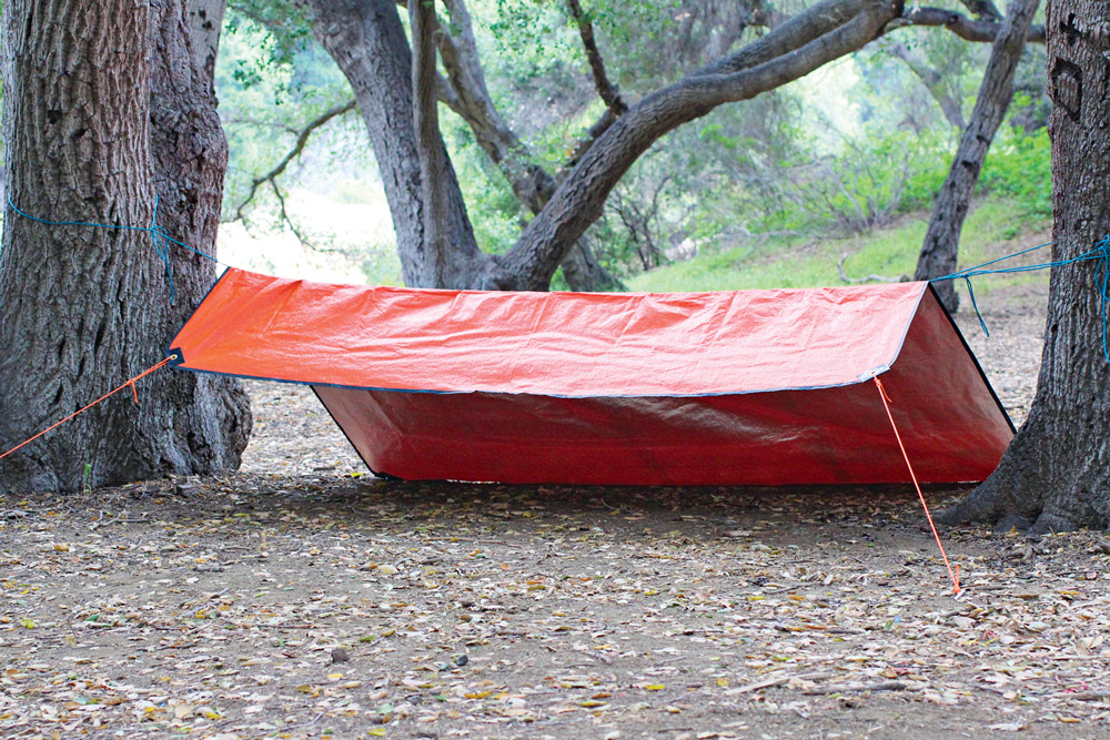 A view of a tarp shelter.