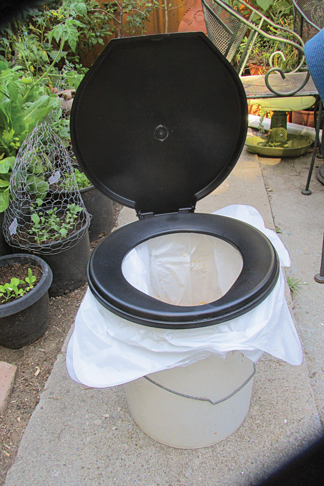 This is a simple bucket toilet you should consider having as part of your backyard camp. The seat can be mounted on virtually any plastic 5-gallon bucket.