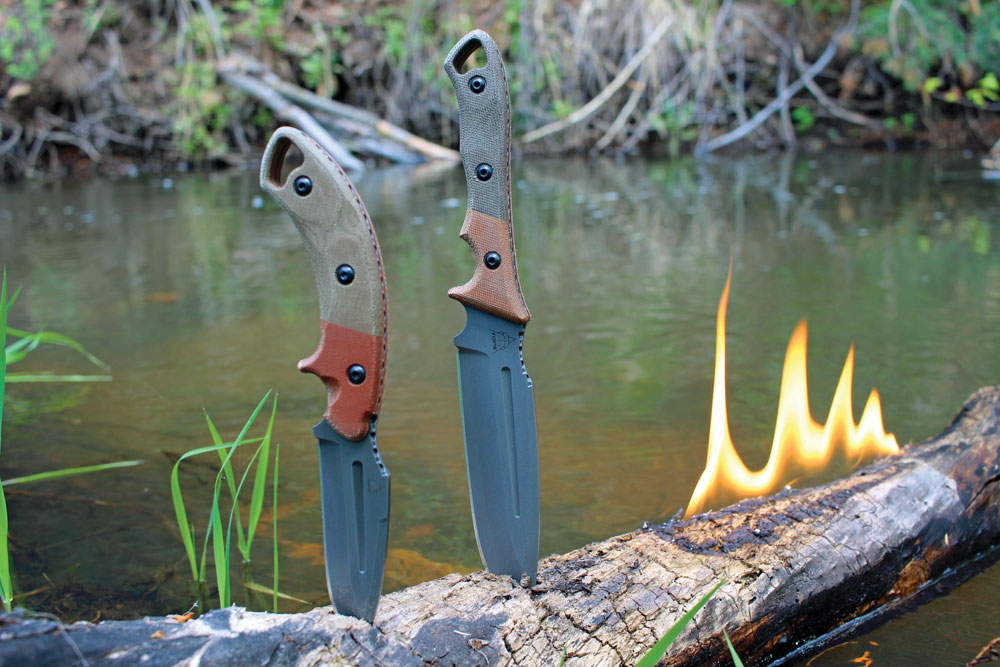 The Crusader, left, and Norseman knives