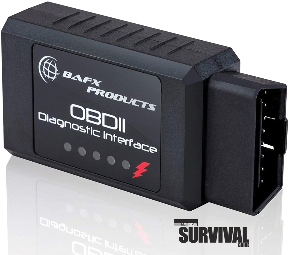 The author purchased a device for under $50 that connects to the OBD2 interface port in his vehicle.