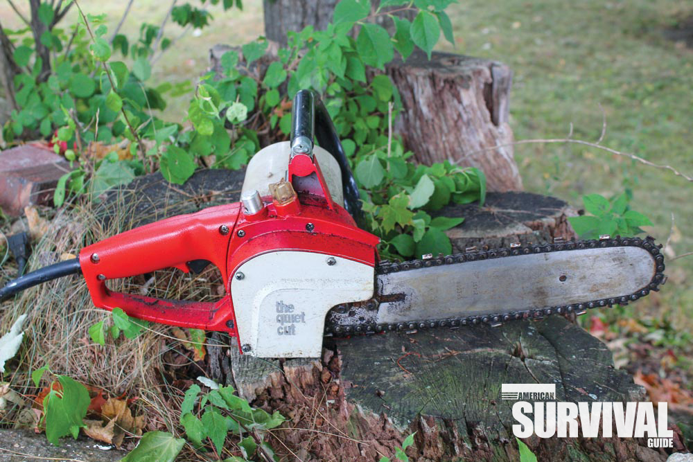 An old electric chainsaw—a $5 find that'll be used often on a mini homestead