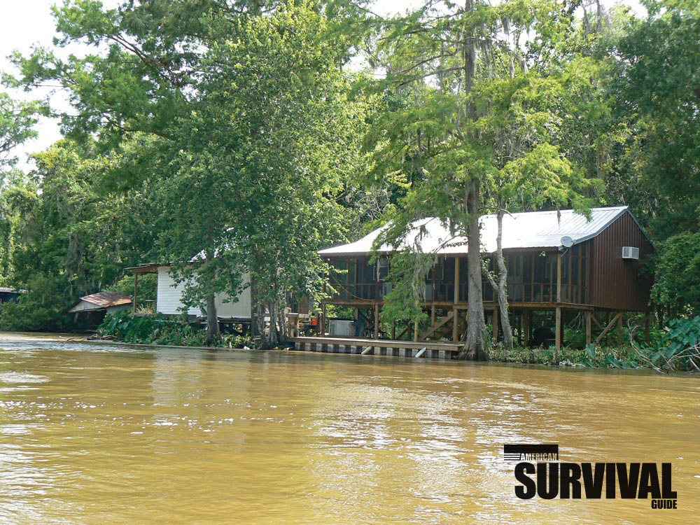 Make sure your mini homestead is safe and secure from all hazards. This house is on stilts to keep it safe from high water.