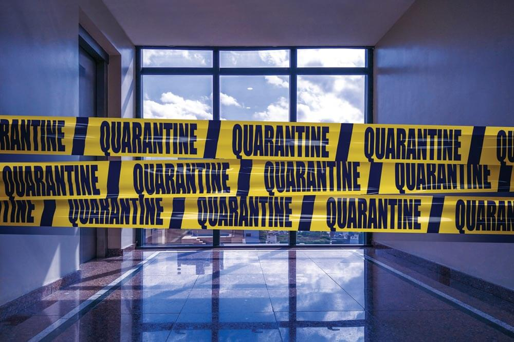 In this day and age, quarantine tape might be enough to convince an unwanted visitor to keep on walking. Getty image